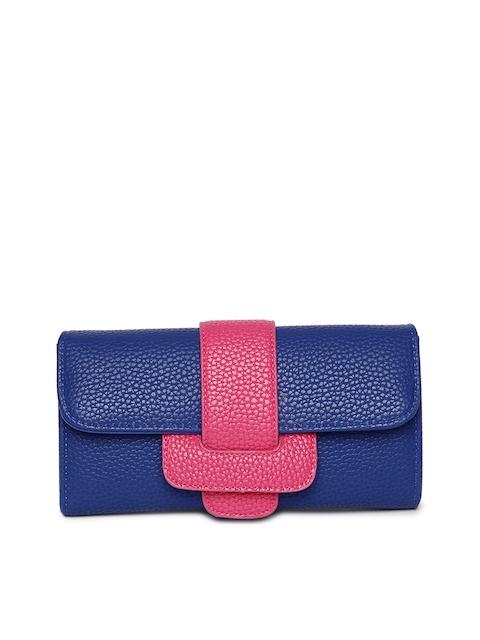 Alvaro Castagnino Women Pink & Blue Textured Two Fold Wallet