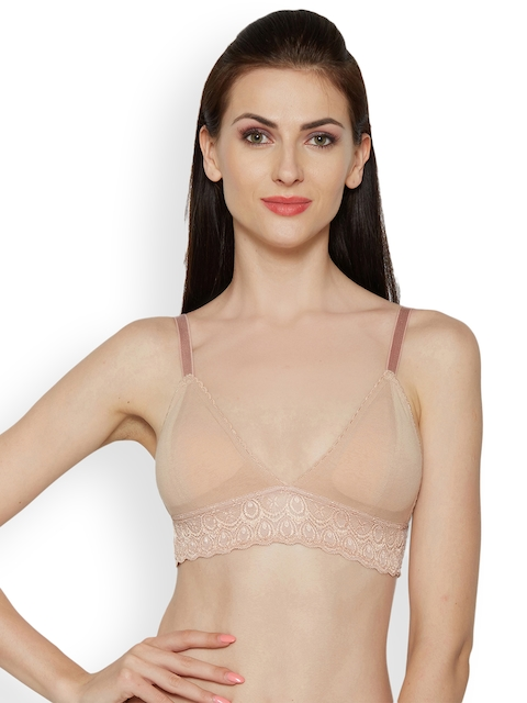 Inner Sense Beige Printed Non-Wired Lightly Padded Bralette Bra