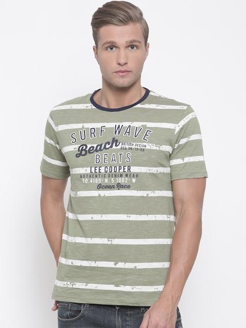 Lee Cooper Men Green Striped Round Neck T-shirt