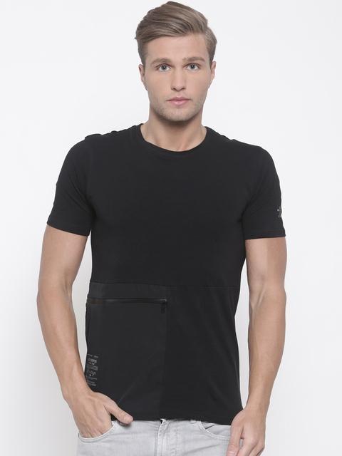 Lee Cooper Men Black Solid Round Neck T-shirt