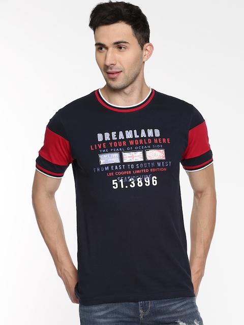 Lee Cooper Men Navy Printed Round Neck T-shirt