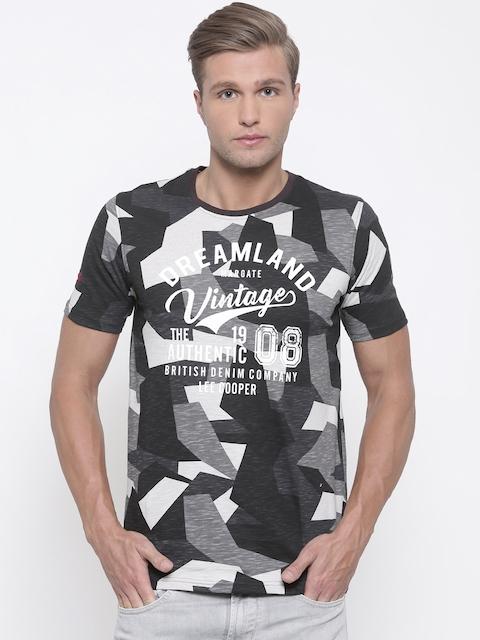 Lee Cooper Men Black & Grey Printed Round Neck T-shirt