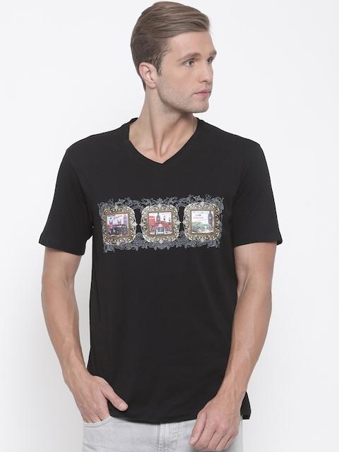 Lee Cooper Men Black Printed V-Neck T-shirt