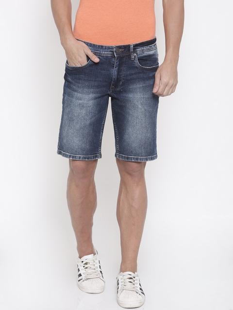 Lee Cooper Men Blue Washed Slim Fit Denim Shorts