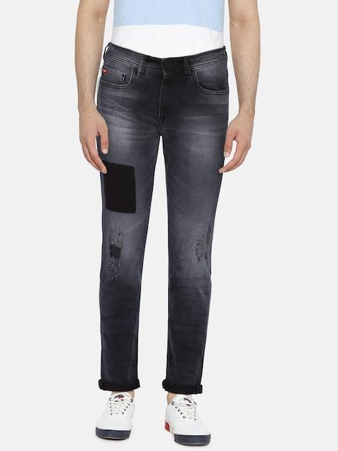Lee Cooper Men Black Slim Fit Low-Rise Low Distress Stretchable Jeans