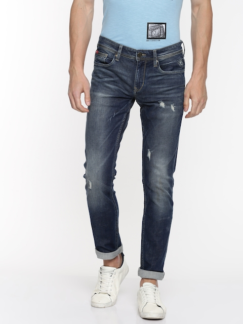 Lee Cooper Men Blue Slim Fit Low-Rise Mildly Distressed Stretchable Jeans