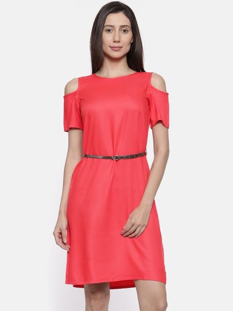 Park Avenue Woman Coral Pink Solid A-Line Dress