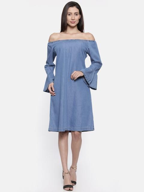Park Avenue Woman Blue Solid Off-Shoulder A-Line Dress