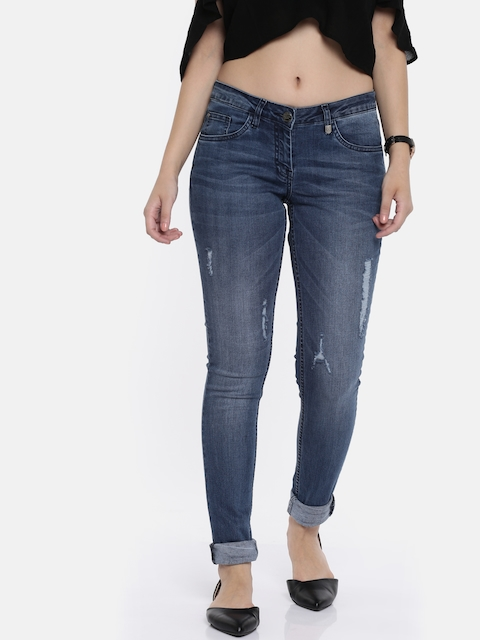Park Avenue Women Blue Skinny Fit Mid-Rise Mildly Distressed Stretchable Jeans