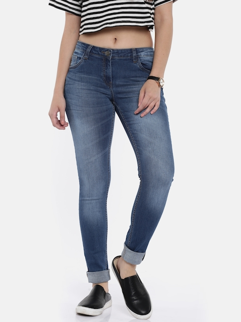 Park Avenue Women Blue Skinny Fit Mid-Rise Clean Look Stretchable Jeans