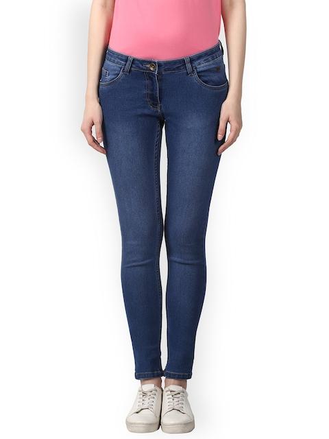 Park Avenue Women Blue Super Skinny Fit Mid-Rise Clean Look Stretchable Jeans