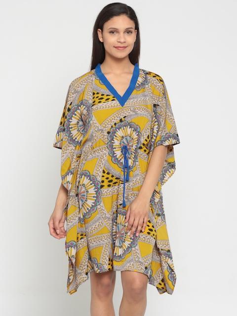 The Kaftan Company Mustard Yellow Printed Cover-Up Dress LW_PY_SHIB33