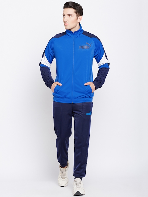Puma Men Blue & Navy Blue Colourblocked Tricot Suit cl Track Suit