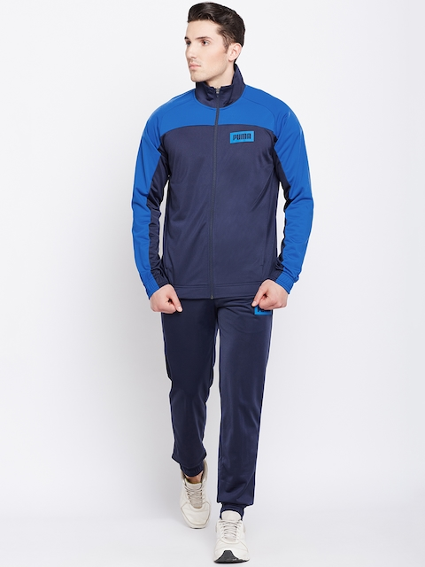 Puma Men Blue Solid Graphic Rebel Tricot Suit CL Track Suit