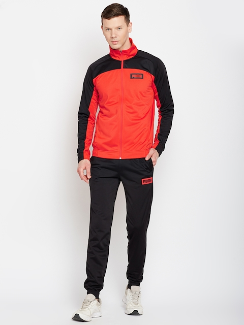 Puma Men Red & Black Graphic Rebel Tricot Suit CL Track Suit