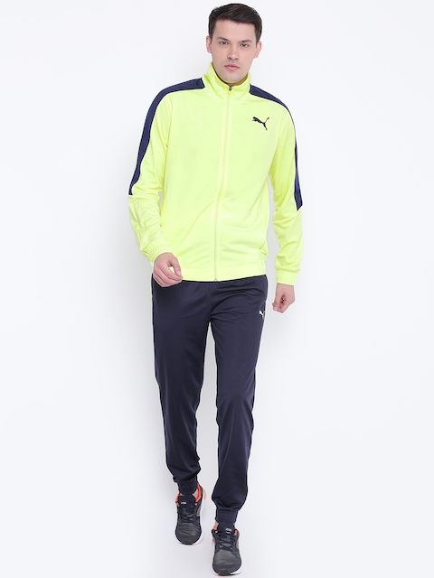 Puma Fluorescent Green & Navy Blue Classic Tricot CL Tracksuit