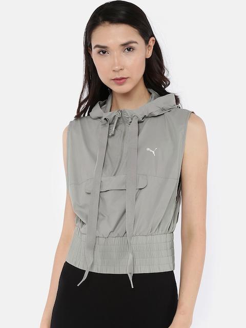 Puma Women Grey Solid Hooded En Pointe SL Half Zip Sweatshirt