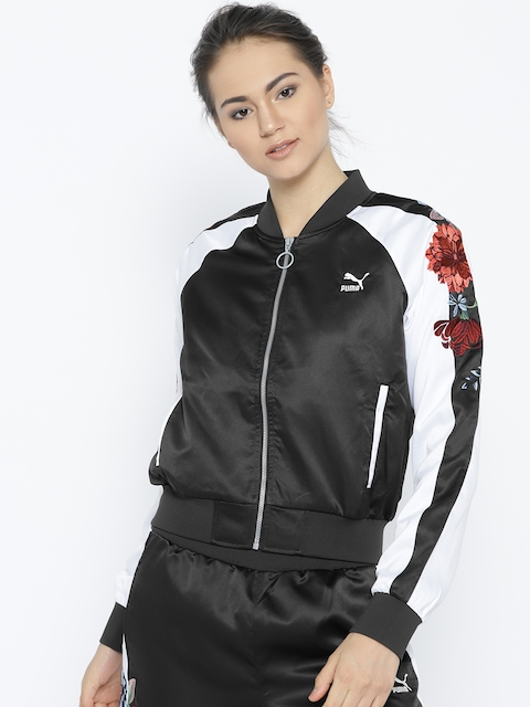Puma Women Black Premium Archive T7 Solid Bomber Jacket