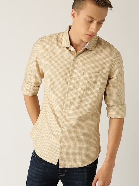 United Colors of Benetton Men Beige Slim Fit Checked Casual Shirt