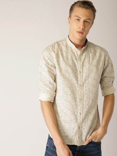 United Colors of Benetton Men Beige & Navy Blue Slim Fit Printed Casual Shirt