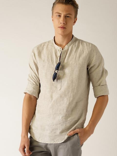 United Colors of Benetton Men Beige Slim Fit Solid Linen Casual Shirt