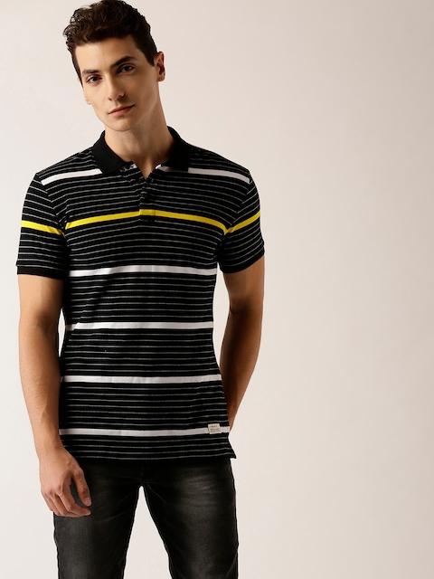 United Colors of Benetton Men Black & White Striped Polo Collar T-shirt