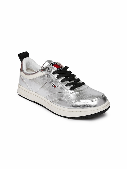 Tommy Hilfiger Women Silver-Toned Sneakers