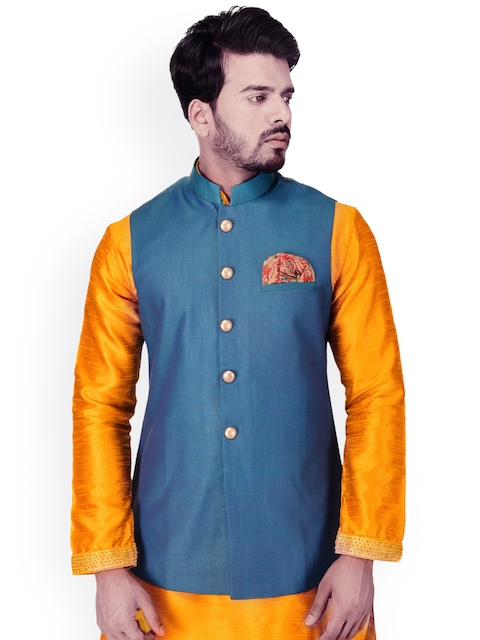 Manyavar Blue Solid Nehru Jacket