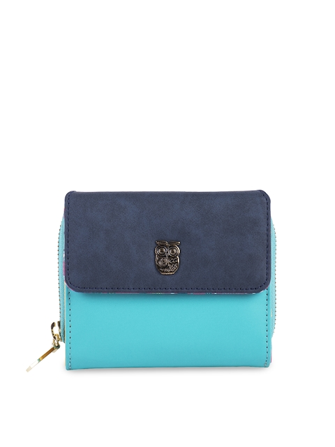 Chumbak Women Teal Colourblocked Three Fold Wallet