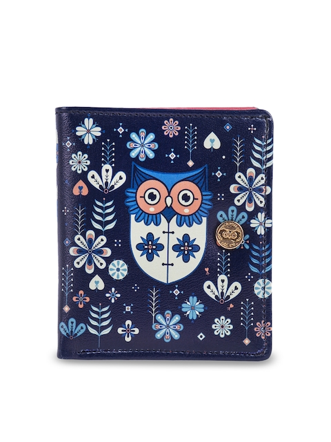 Chumbak Women Blue Printed Two Fold Wallet