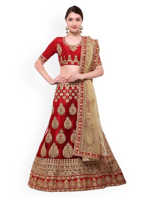 Aasvaa Red Semi-Stitched Lehenga & Blouse with Dupatta