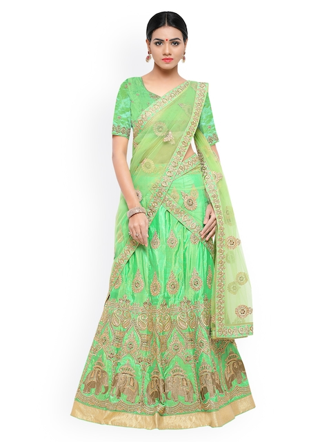 Styles Closet Lime Green Semi-Stitched Lehenga & Blouse with Dupatta