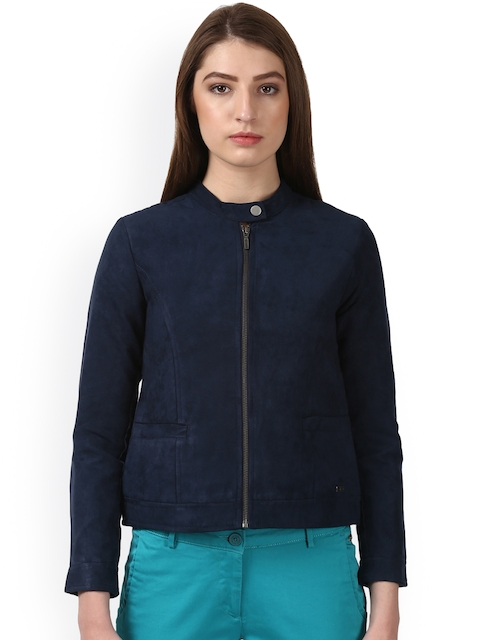 Park Avenue Women Blue Solid Tailored Jacket