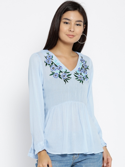 Monte Carlo Women Blue Embroidered Detail Semi-Sheer A-Line Top