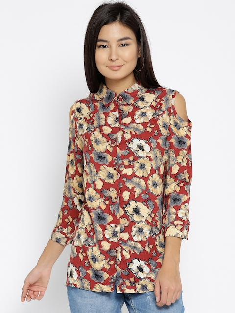Monte Carlo Women Maroon & Beige Cold-Shoulder Printed Casual Shirt