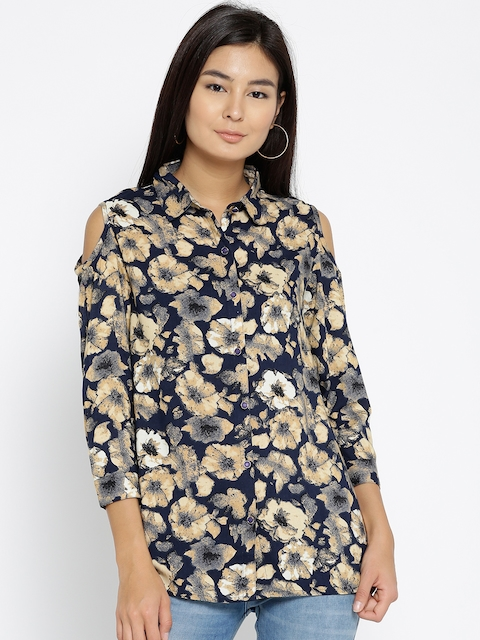 Monte Carlo Women Navy Blue & Beige Printed Cold-Shoulder Casual Shirt