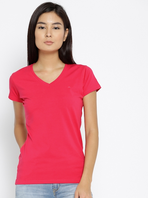 Monte Carlo Women Pink Solid V-Neck T-shirt