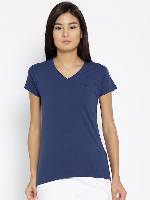 Monte Carlo Women Blue Solid V-Neck T-shirt