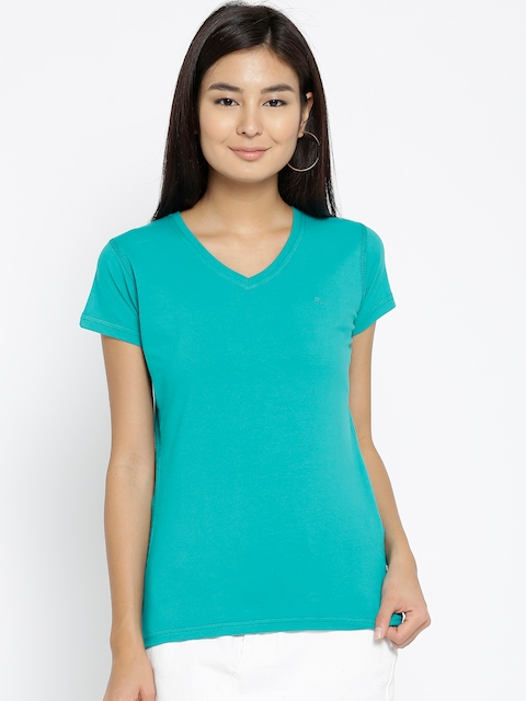 Monte Carlo Women Turquoise Blue Solid V-Neck T-shirt
