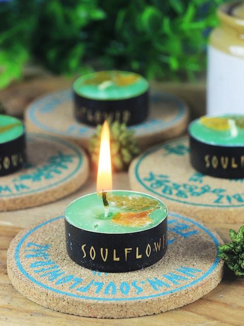 Soulflower Pack of 25 Green Lemongrass Small T Light Candles
