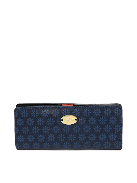 Holii Women Blue Textured Two Fold Wallet