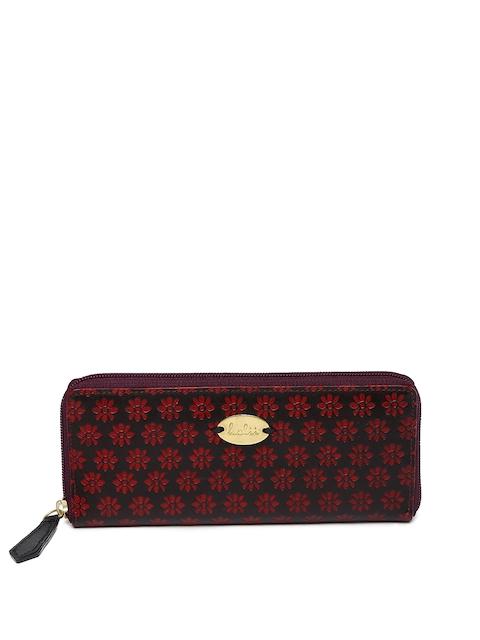Holii Women Black & Red Textured Zip Around Wallet