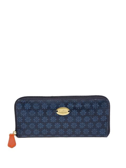Holii Women Blue Textured Zip Around Wallet
