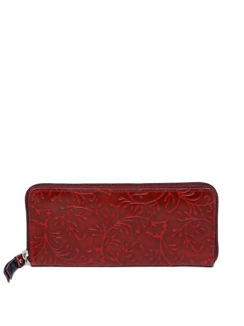 Holii Women Red Textured Zip Around Wallet