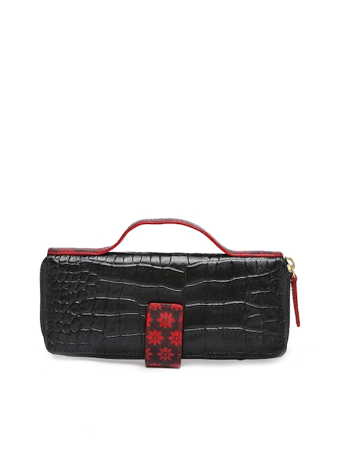 Holii Women Black Textured Zip Around Wallet