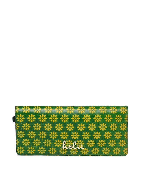 Holii Women Green & Yellow Textured Two Fold Wallet