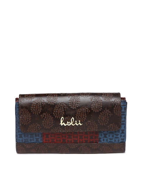 Holii Women Brown & Red Textured Two Fold Wallet