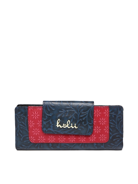 Holii Women Blue & Pink Printed Two Fold Wallet