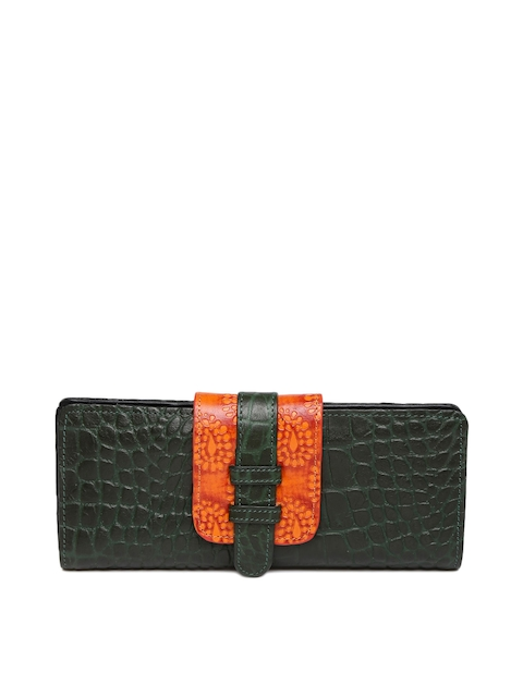 Holii Women Green & Orange Textured Two Fold Wallet