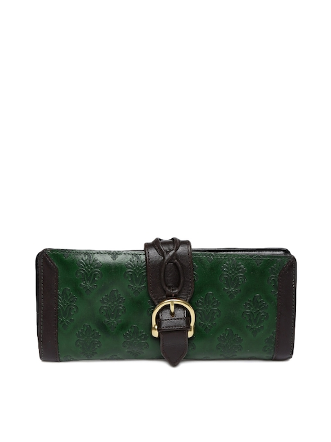 Holii Women Green & Brown Textured Two Fold Wallet